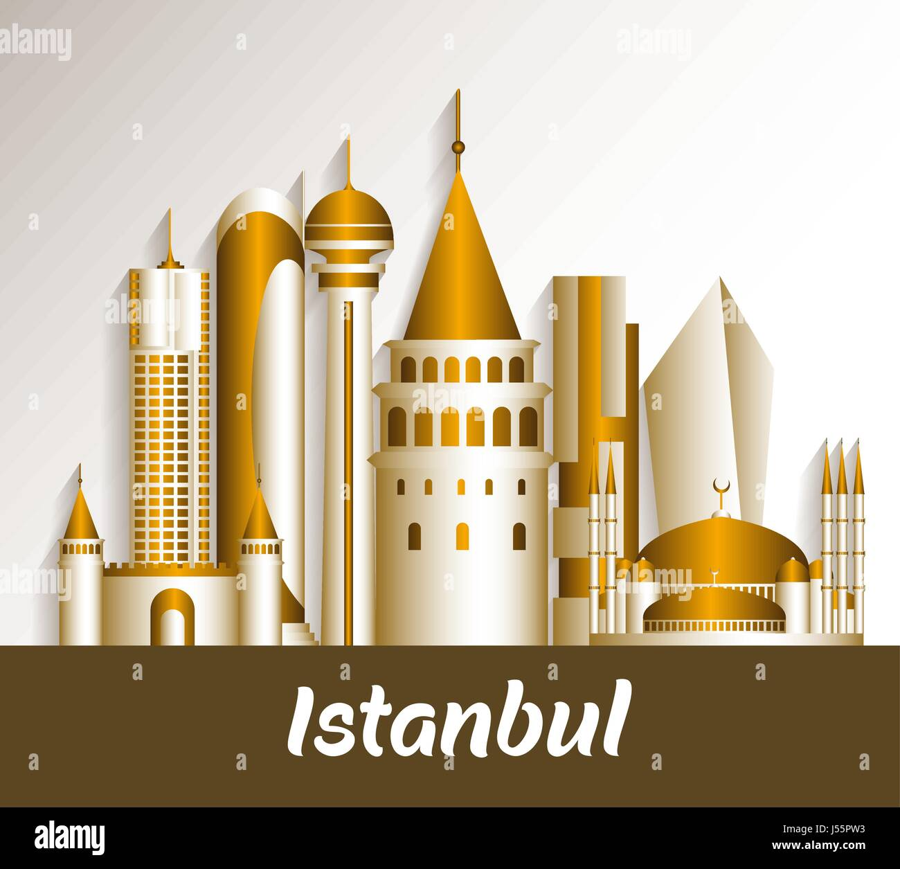 Outline athens skyline with blue buildings and copy space stock vector - City Of Istanbul Turkey Famous Buildings Vector Design Editable Vector Illustration Stock Image