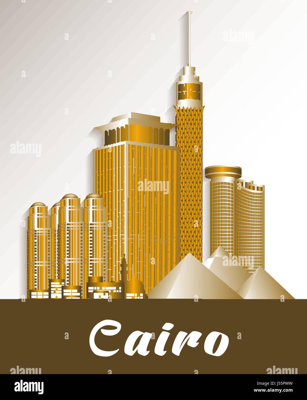 City Of Cairo Egypt Famous Buildings Vector Design Editable Vector