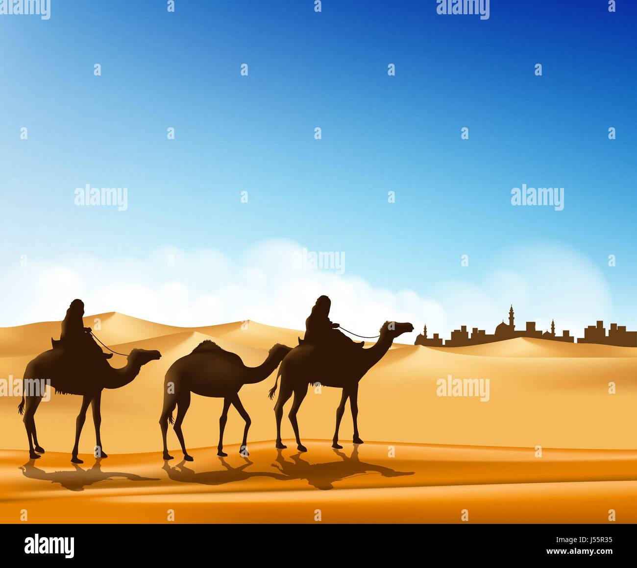 group of arab people with camels caravan riding in realistic wide