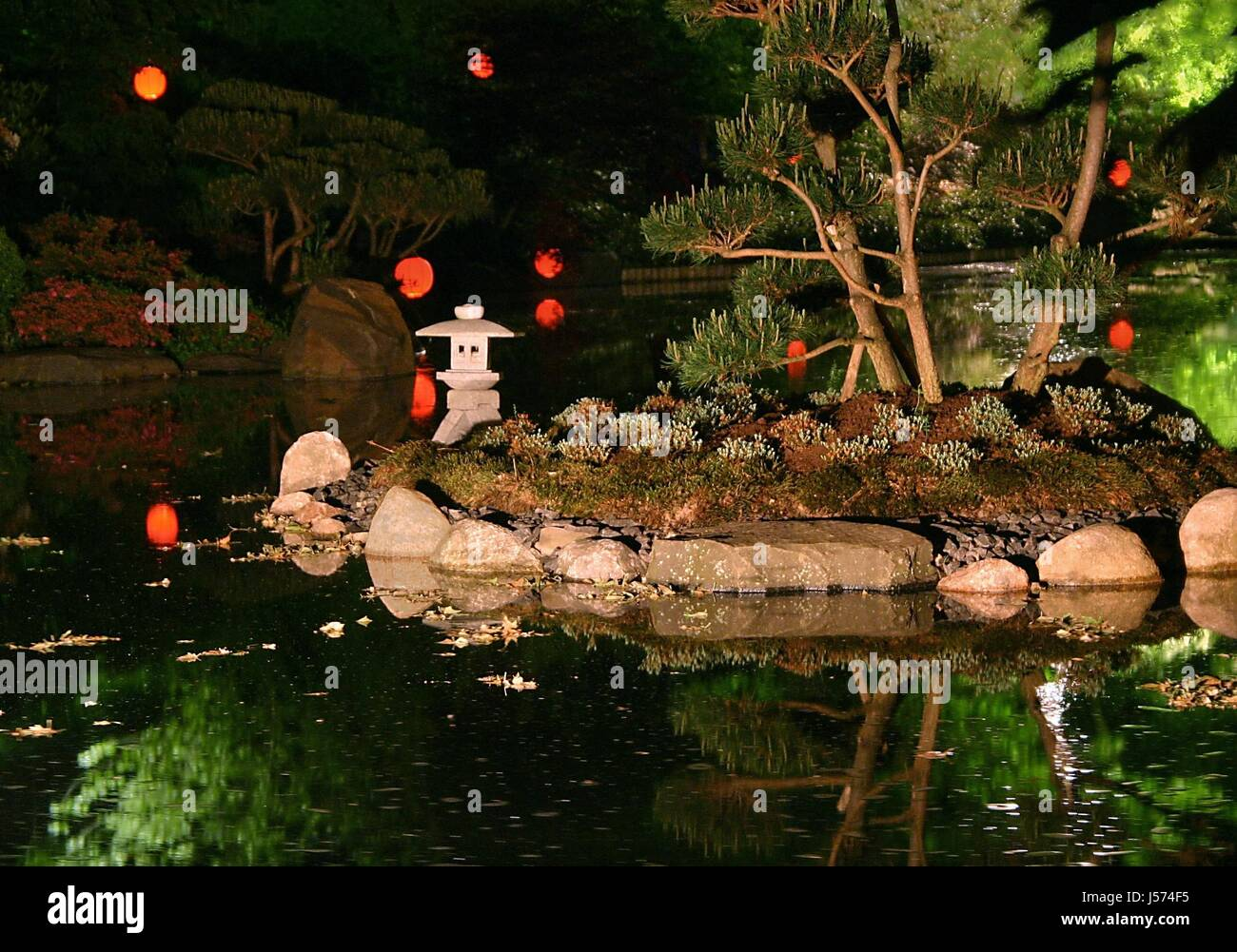 japanese garden at night Stock Photo Royalty Free Image