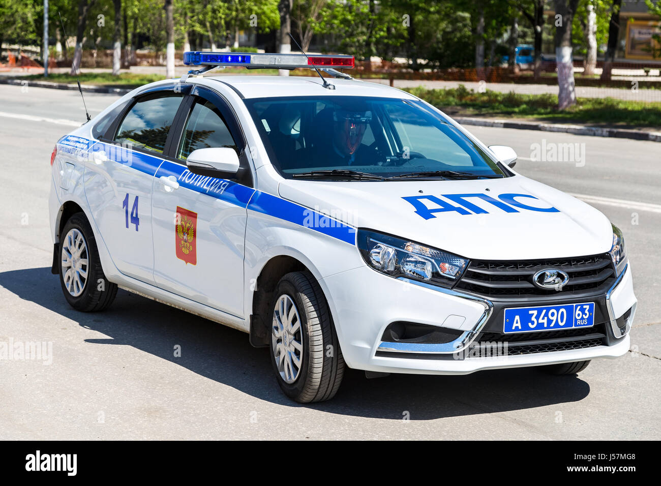 samara russia may 13 2017 russian police patrol car of the state stock photo royalty free. Black Bedroom Furniture Sets. Home Design Ideas