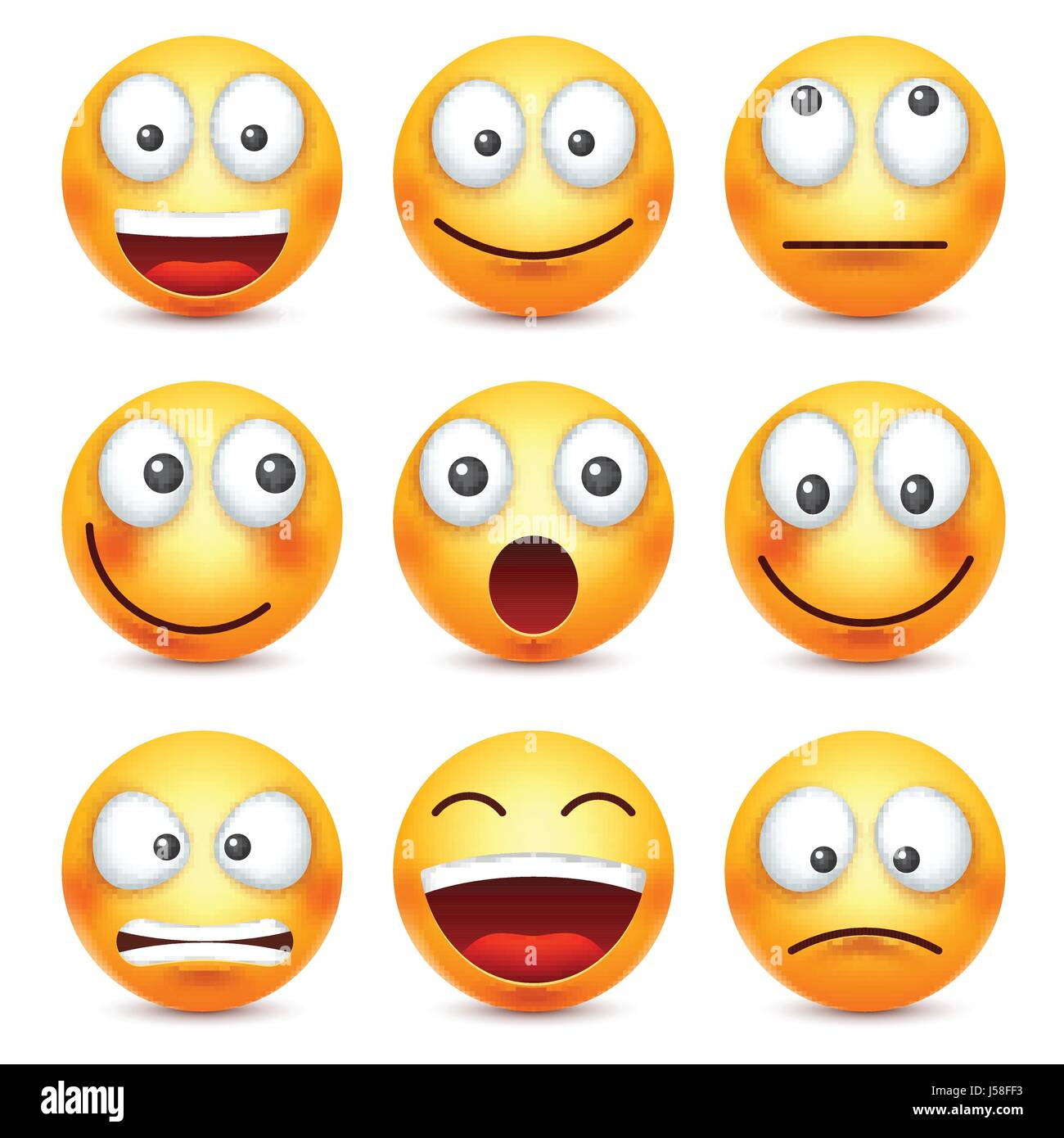 Smiley,emoticon set. Yellow face with emotions. Facial ...