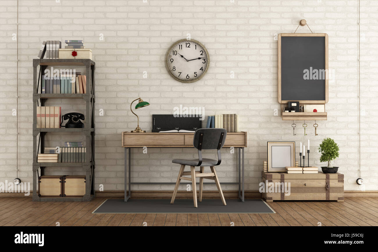 Home Workspace In Industrial Style With Desk,bookcase And Retro Objects -  3d Rendering