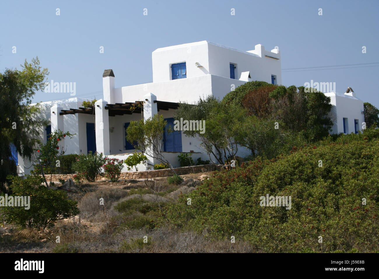 Greece New Building Stil Blaue Tren Weie Wnde Weier Stock Image With Weie