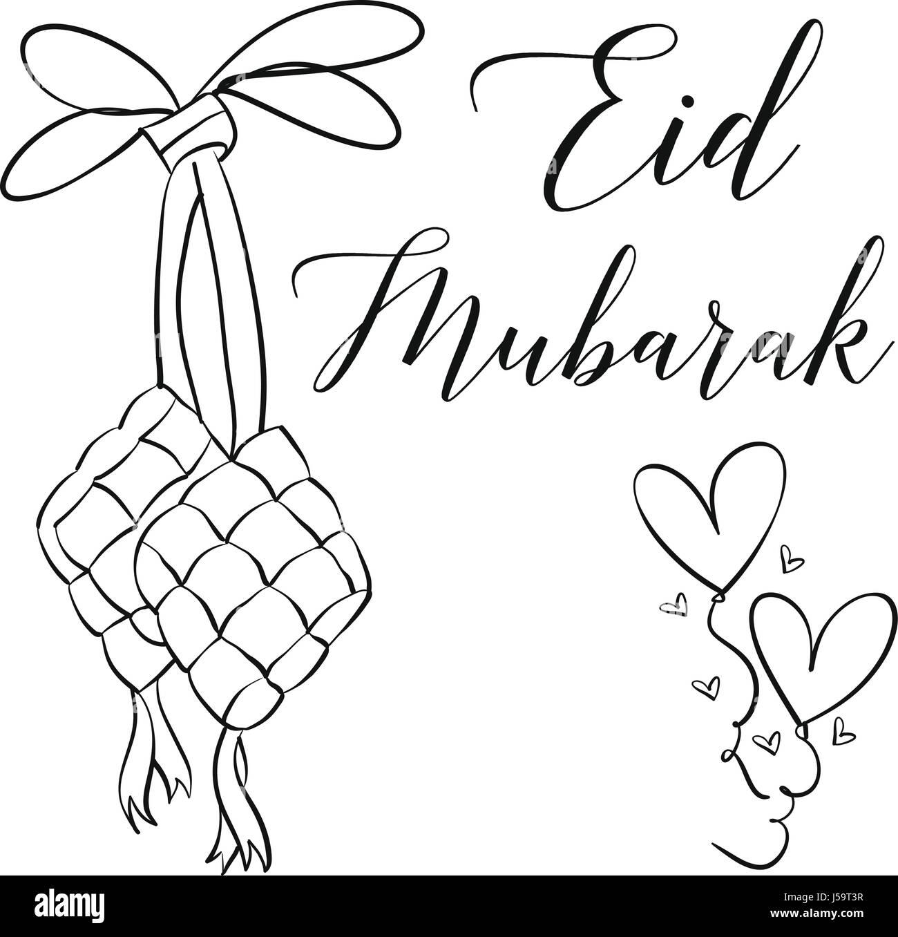 Hand draw greeting card eid mubarak stock vector art illustration hand draw greeting card eid mubarak m4hsunfo Images