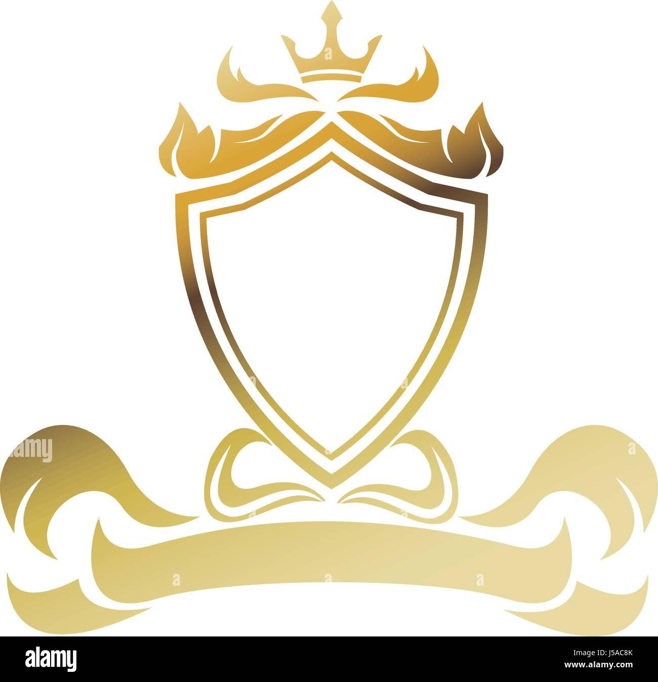 Black Luxury Golden 3d Logo Mockup: Empty Blank Emblem Badge Shield Stock Photos & Empty Blank