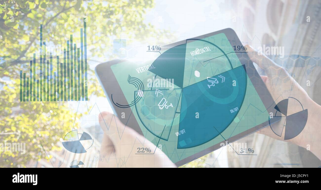 Tree pie chart stock photos tree pie chart stock images alamy digital composite of hands holding digital tablet with pie chart overlay stock image nvjuhfo Gallery