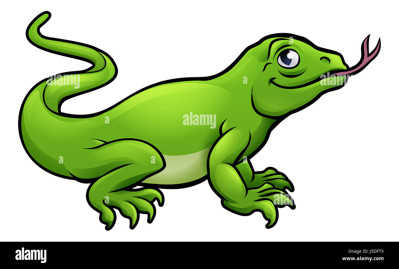 A Komodo dragon lizard cute cartoon character Stock Photo, Royalty ... for Cute Lizard Clipart  58lpg