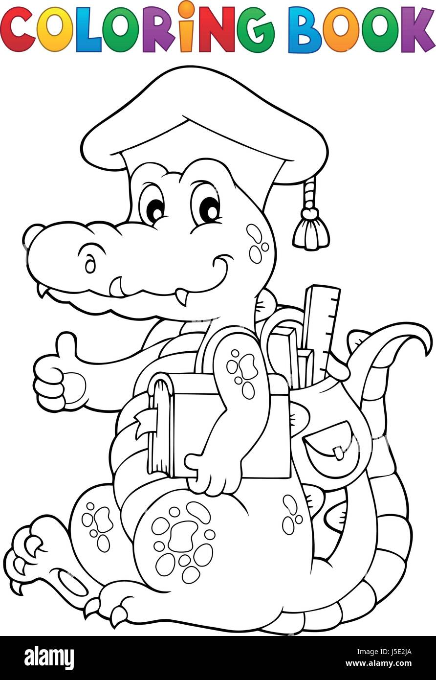 Coloring book school - Coloring Book School Theme Crocodile Eps10 Vector Illustration