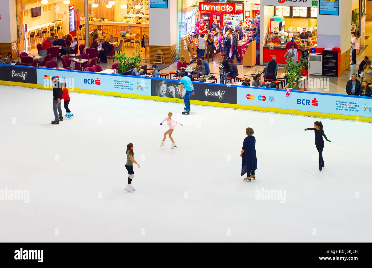 Roller skating rink jakarta - Bucharest Romania Oct 14 2016 People At Ice Rink At Controceni Shopping