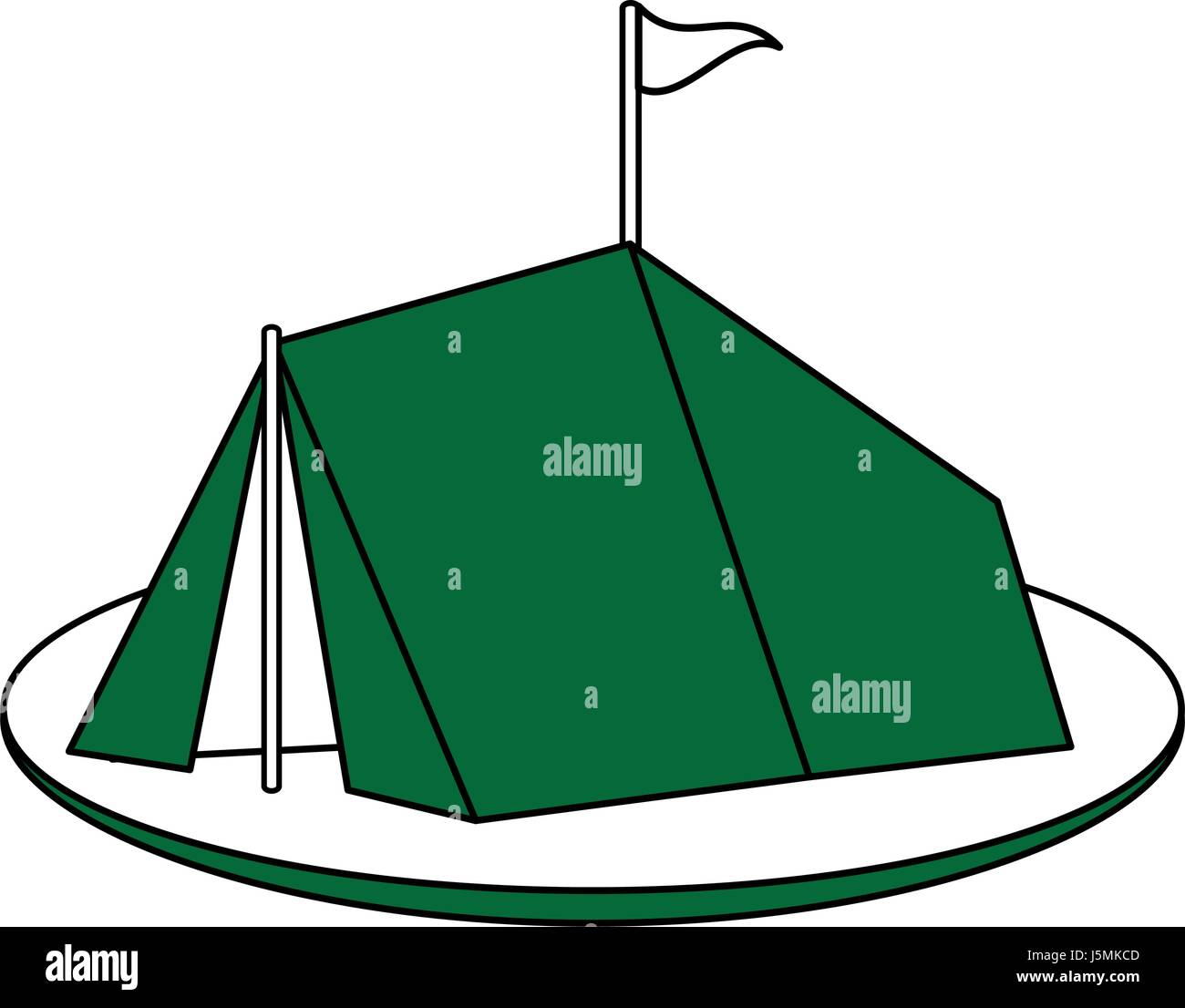 color silhouette image green c&ing tent in grass with flag  sc 1 st  Alamy & color silhouette image green camping tent in grass with flag Stock ...