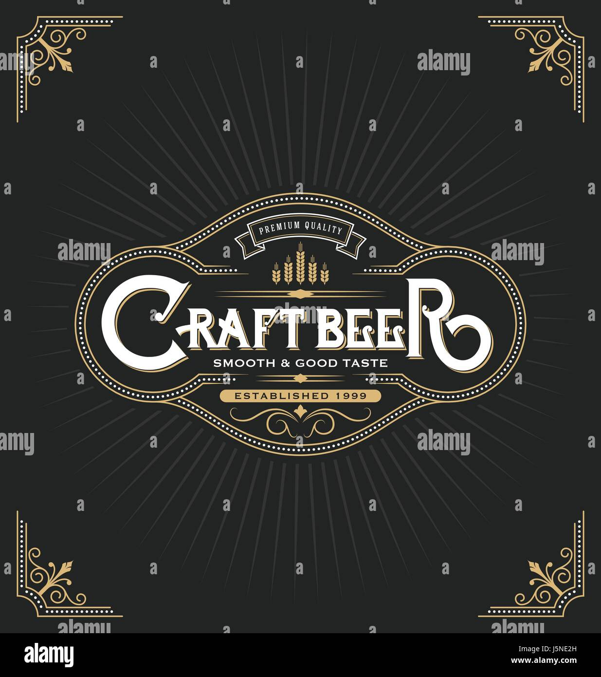 Craft Beer Sticker Label Design Vintage Frame Template Suitable For