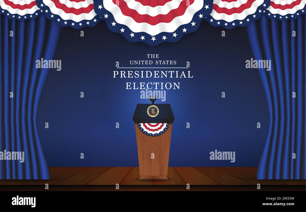 President podium with microphone on stage design for US Presidential ...