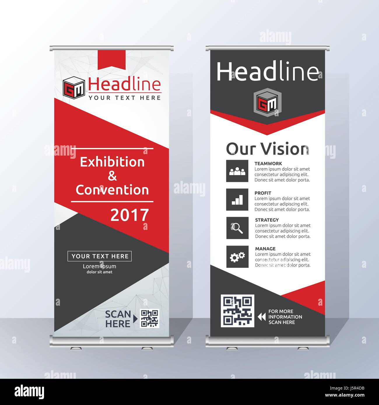 roll up banner template design with abstract red and black geometric