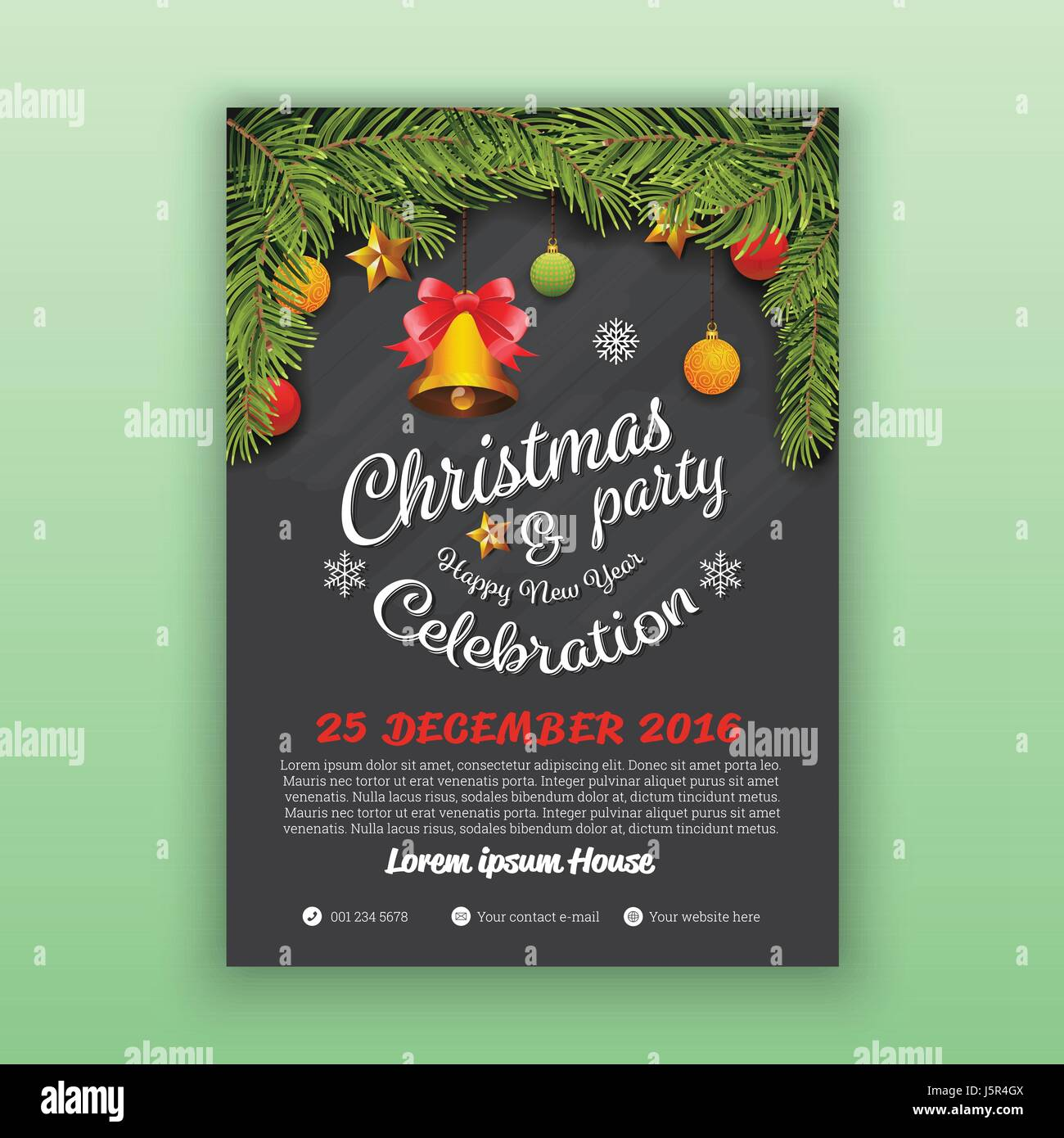 Christmas & Happy New Year Party Flyer Template. Christmas Party ...