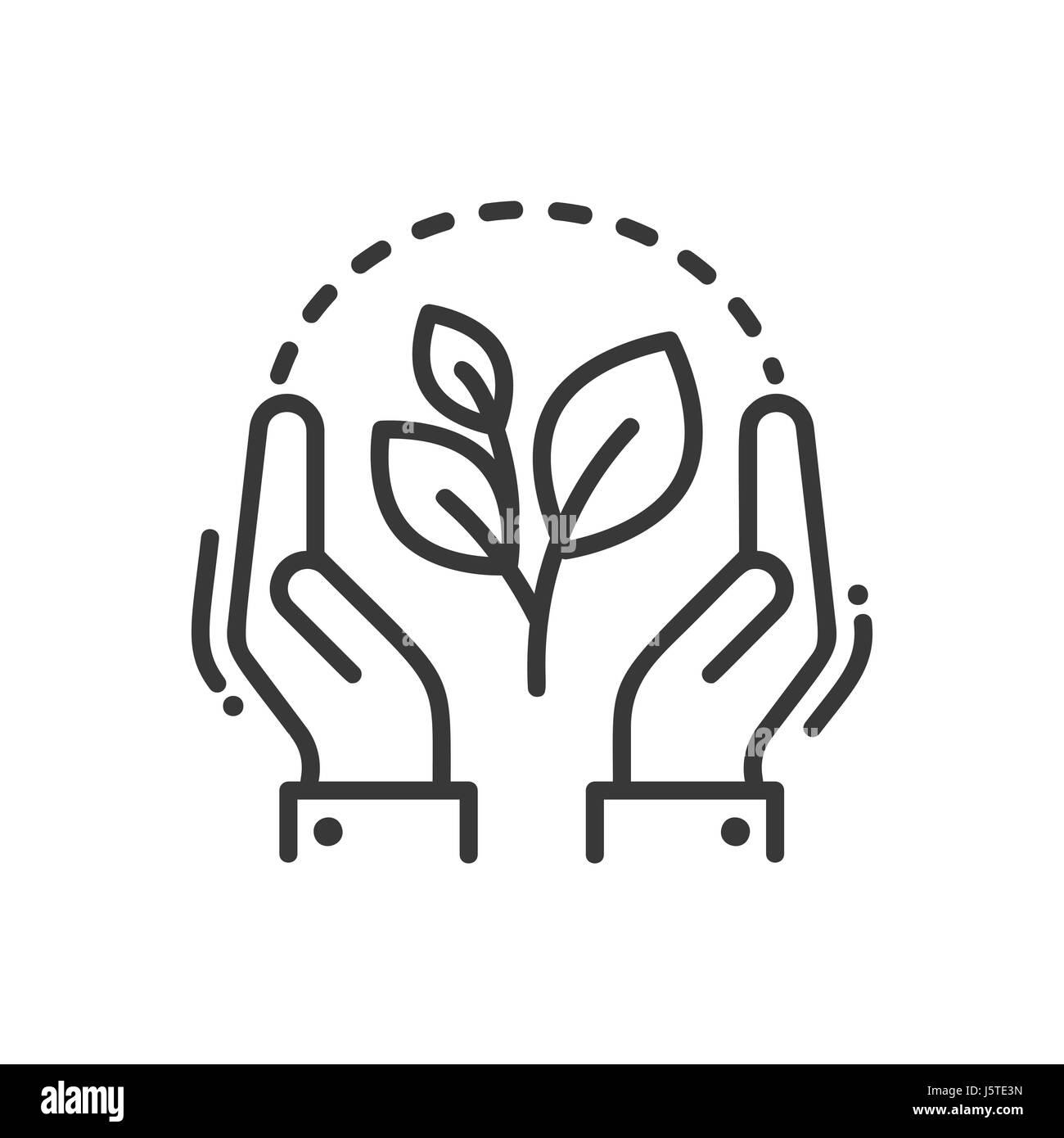 Single Line Vector Art : Plant of life modern vector single line icon stock