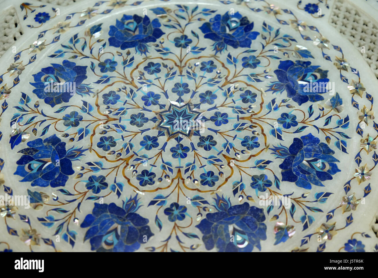 stock photo traditional colorful floral marble tabletops for sale in agra uttar pradesh india on february 14