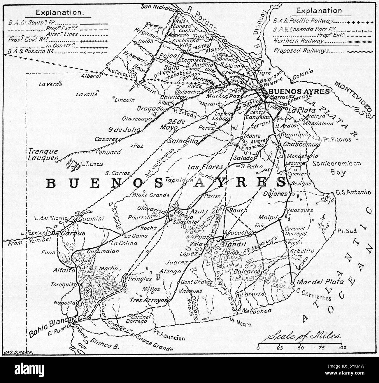 Argentina Map Stock Photos Argentina Map Stock Images Alamy - Argentine railway map