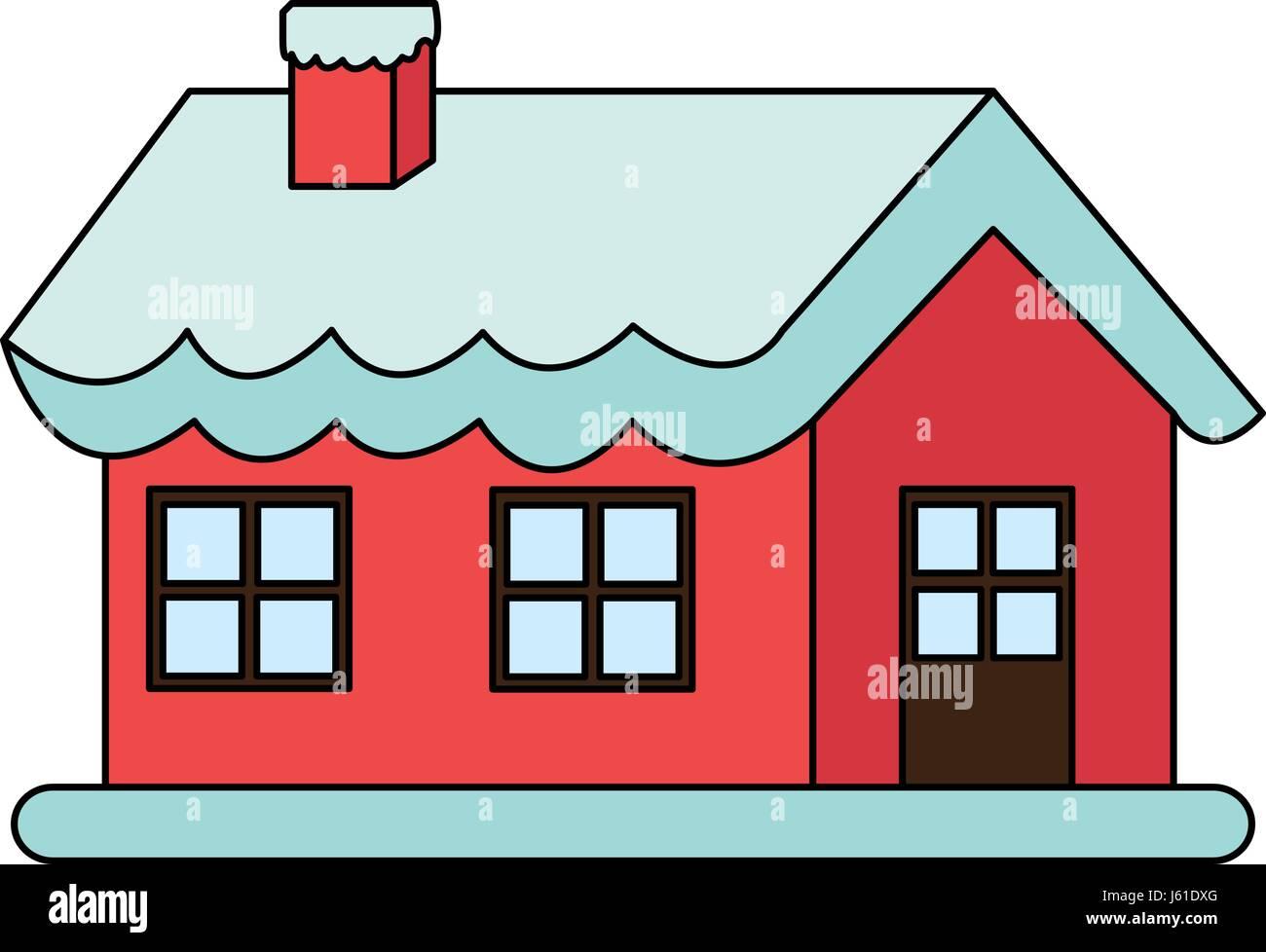 Christmas house with snow art - Stock Vector Color Image Cartoon Christmas House With Snow And Chimney