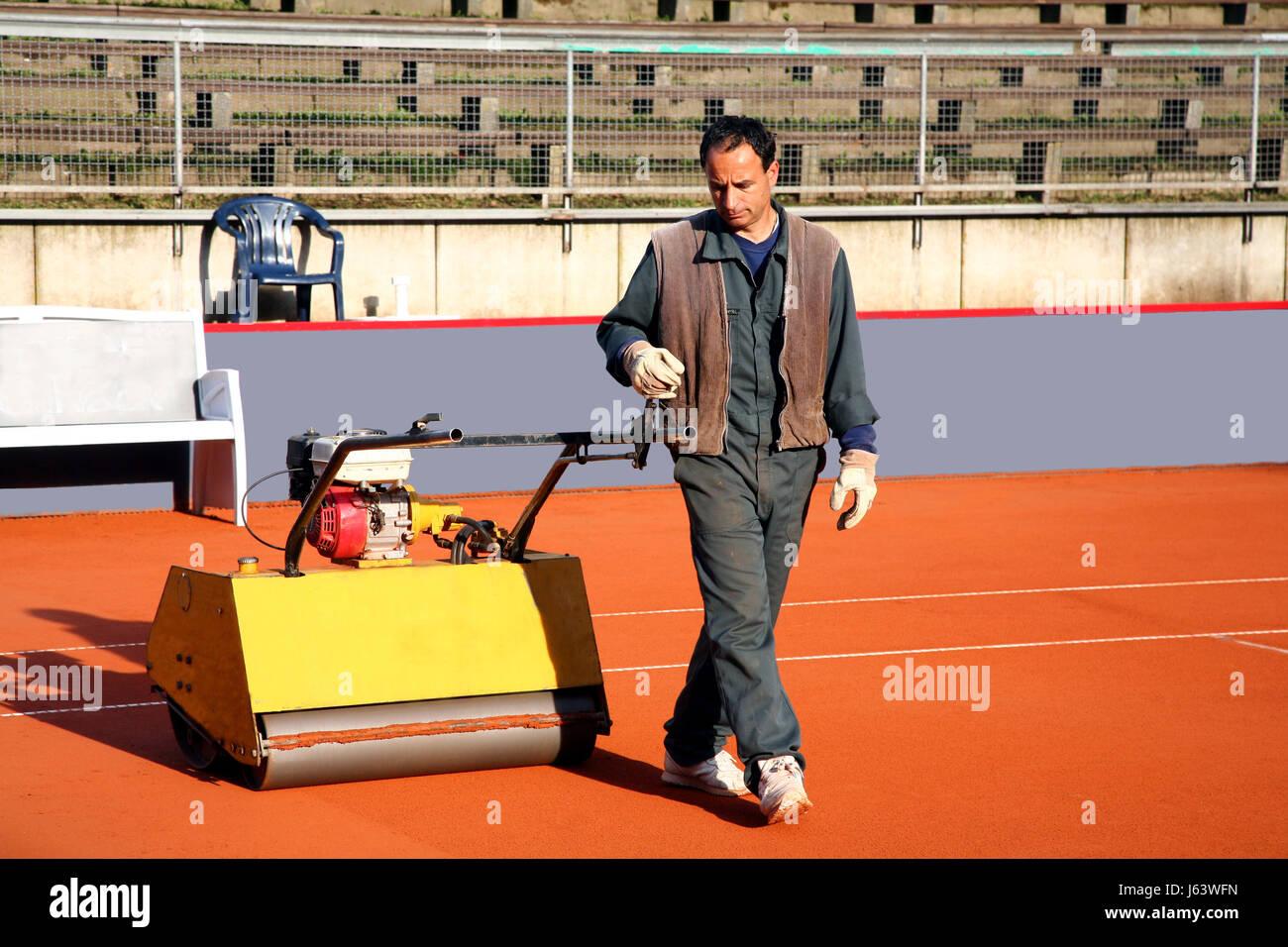 Roll Roller Tennis Court Work Job Labor Workers Laborer Worker Stock