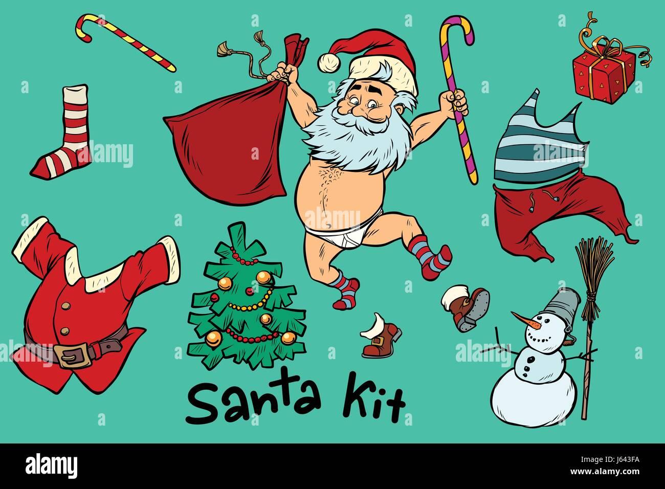 kit undressed funny santa and christmas items comic book cartoon
