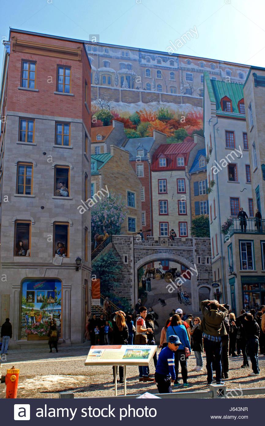 Quebec Ville, Rue Notre Dame, Fresque Historique Des Quebecois *** Wall  Mural Part 91