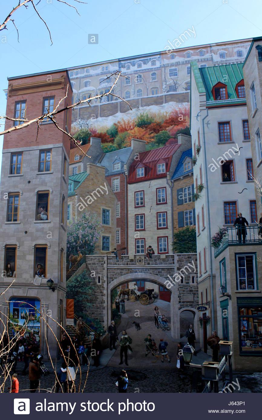 Quebec Ville, Rue Notre Dame, Fresque Historique Des Quebecois *** Wall  Mural Depicts Local History, Histoire Des Quebecois, Quebec City, Quebec  Province