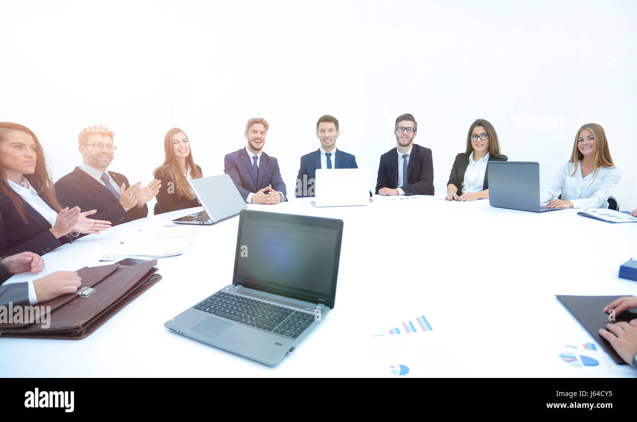 Bon Closeup Of A Laptop At A Round Table Meeting With Business Partners. The  Participants Of The Meeting Applauded Each Other. The Photo Has A Empty  Space