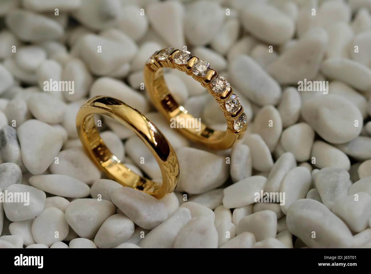 Ring Rings Wedding Rings Couple Pair Marriage Life Partnership Stone