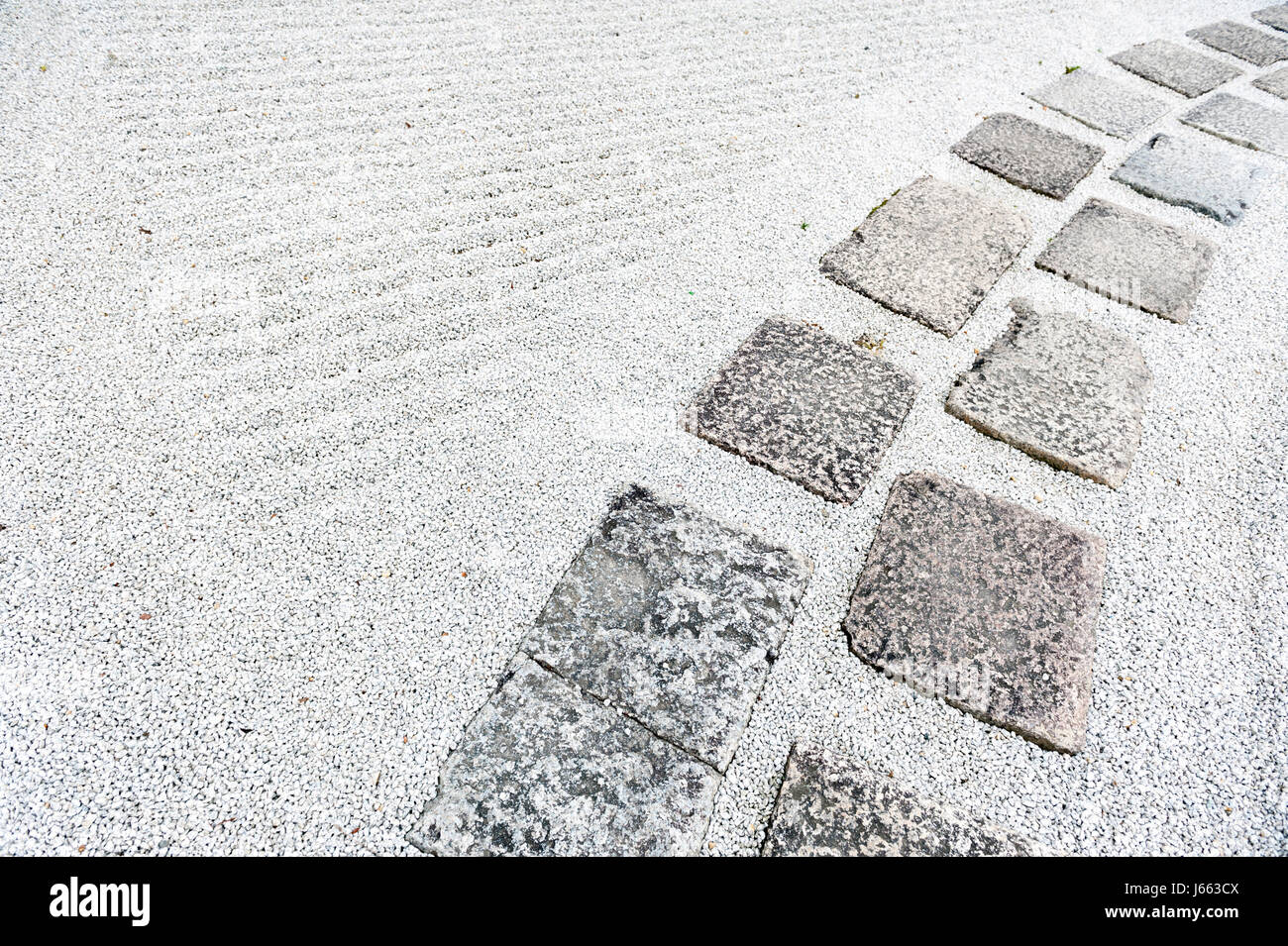 Walkway In A Japanese Rock Garden Or Zen Garden With Gravel Covered On  Ground
