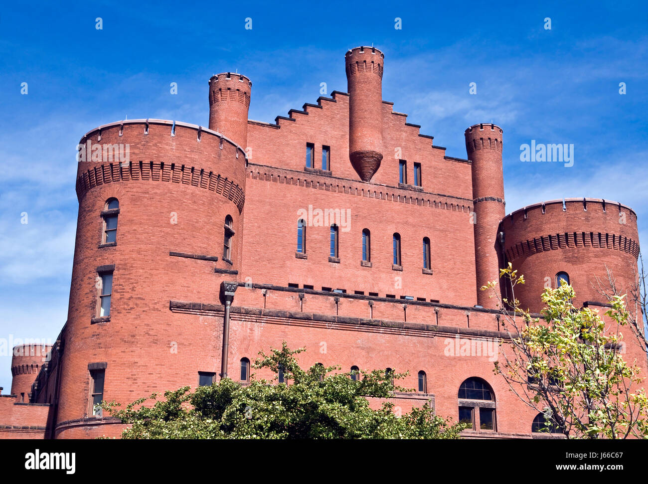 tree trees brick castle old armory firmament sky red building