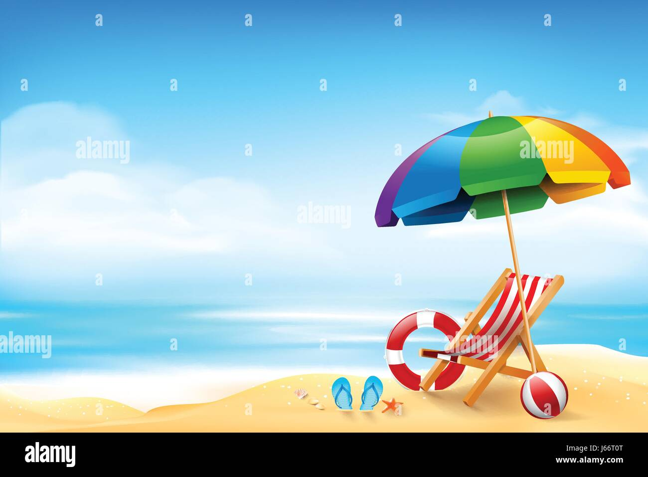 The Chair Ball Starfish And Life Ring On The Beach Over Blur Blue Sky  Background For Summer Vacation Concept Vector Illustration Eps10