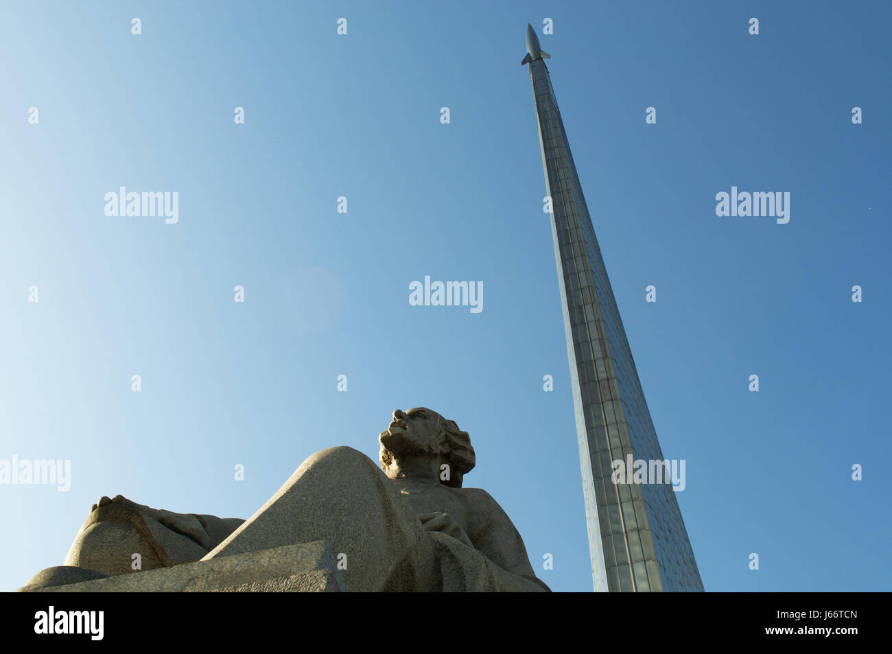 Soviet memorial dedicated to cosmonauts from kaliningrad - Statue Of Konstantin Tsiolkovsky Precursor Of Astronautics And The Monument To The Conquerors Of