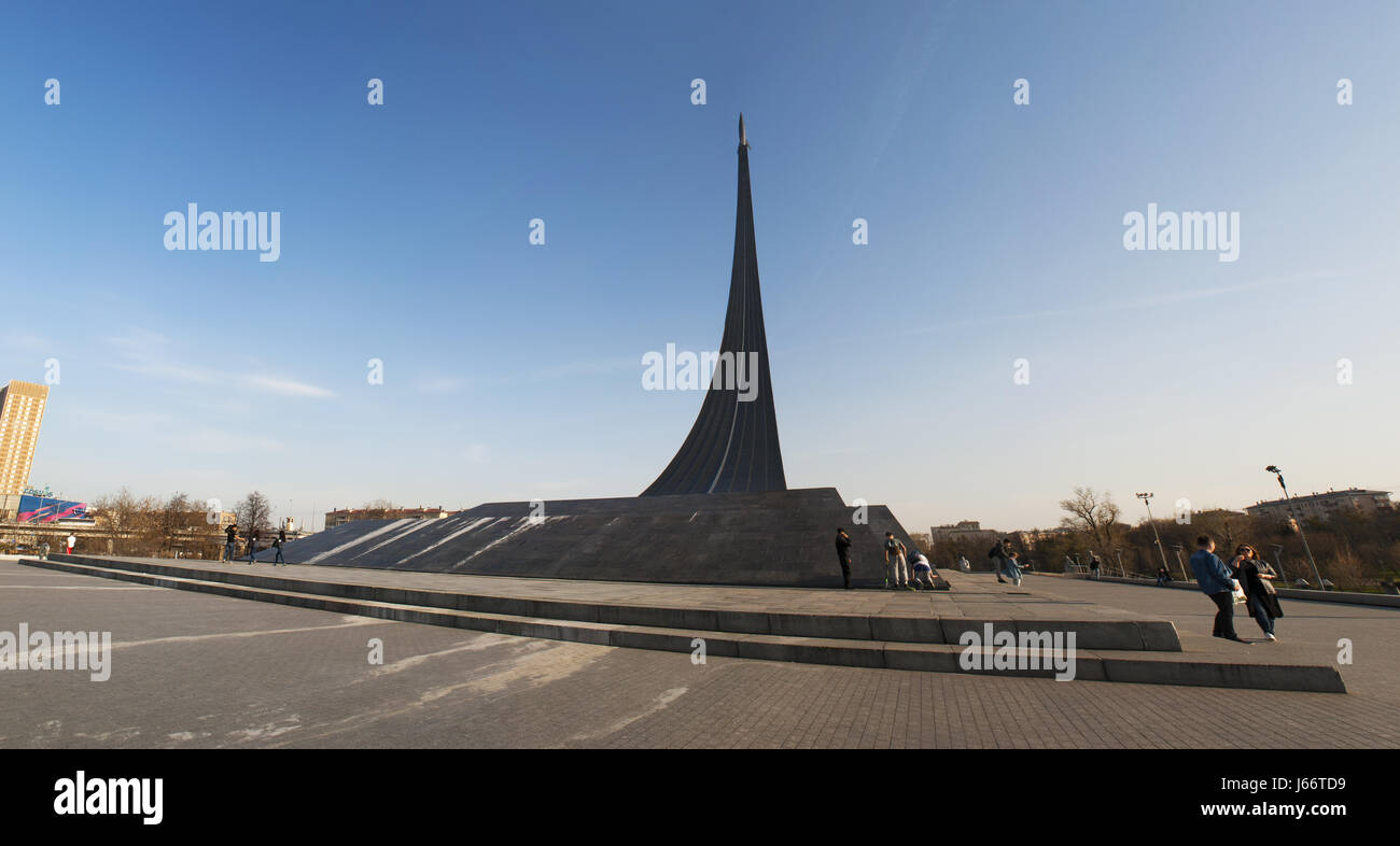Soviet memorial dedicated to cosmonauts from kaliningrad - Moscow Russia View Of The Monument To The Conquerors Of Space Built In