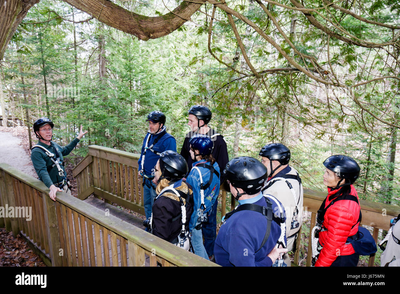 Mackinaw City Michigan Mackinac State Historic Parks Park Historic Mill Creek Discovery Park Forest Canopy Bridge zip line safet & Mackinaw City Michigan Mackinac State Historic Parks Park Historic ...