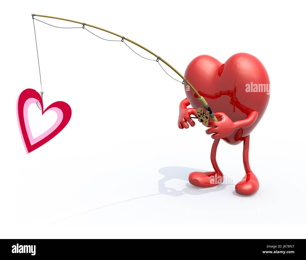 Big heart with arms legs fishing pole on hand fishing a heart big heart with arms legs fishing pole on hand fishing a heart symbol 3d illustration buycottarizona Image collections