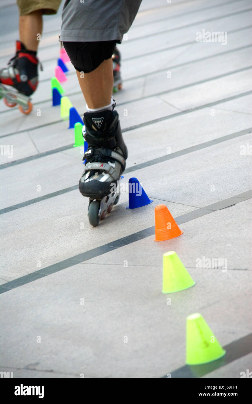 Roller dozer shoes - Action Roller Slalom Skate Activities Operations Boy Lad Male Youngster Stock Image