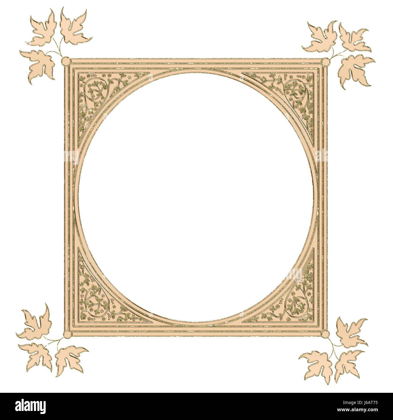 ornament bronze gold frame framework fall autumn leaf jewelry Stock ...