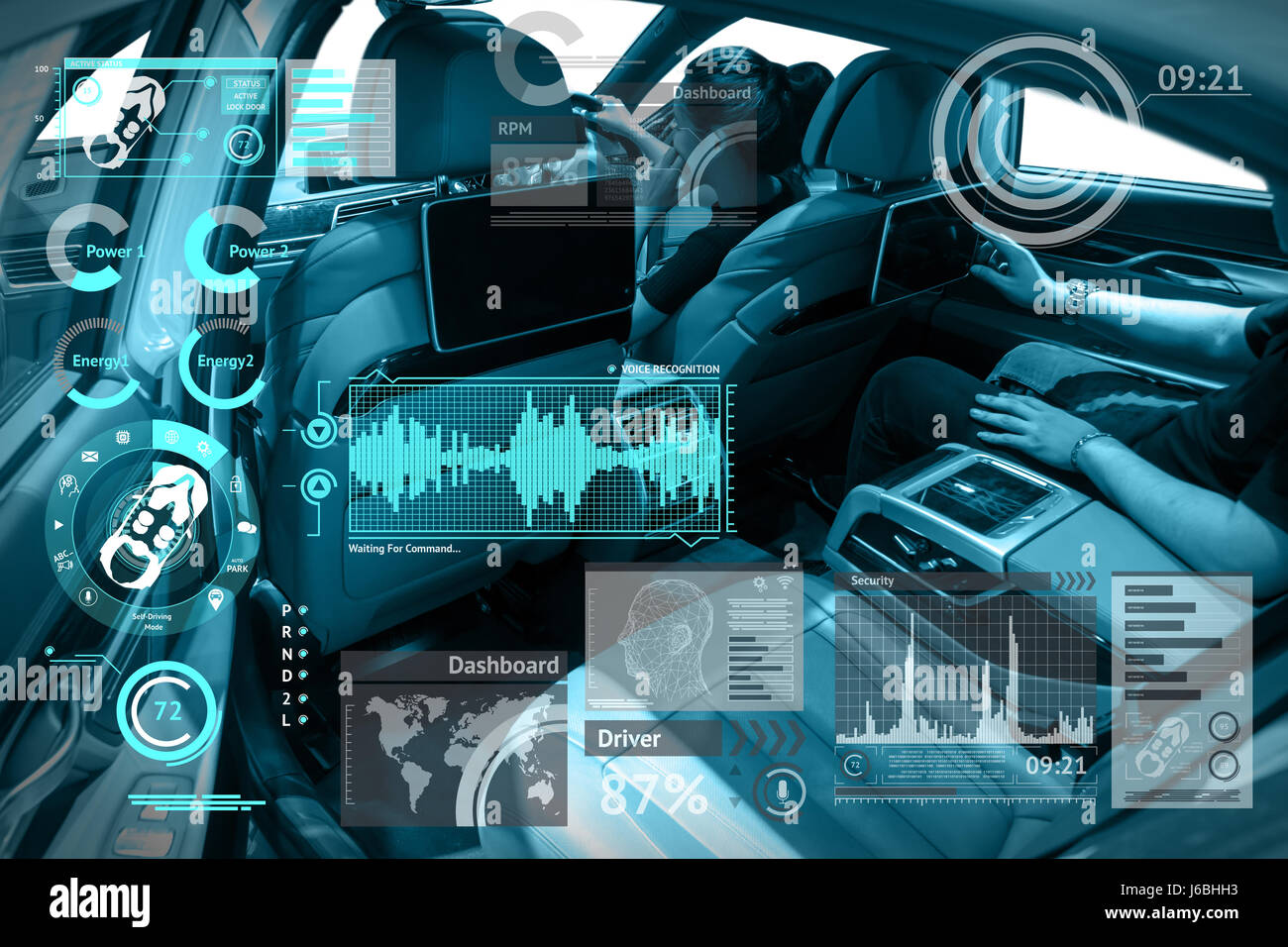 Smart car and inter of things  IOT  concept Car  s console and Stock Photo  Royalty Free