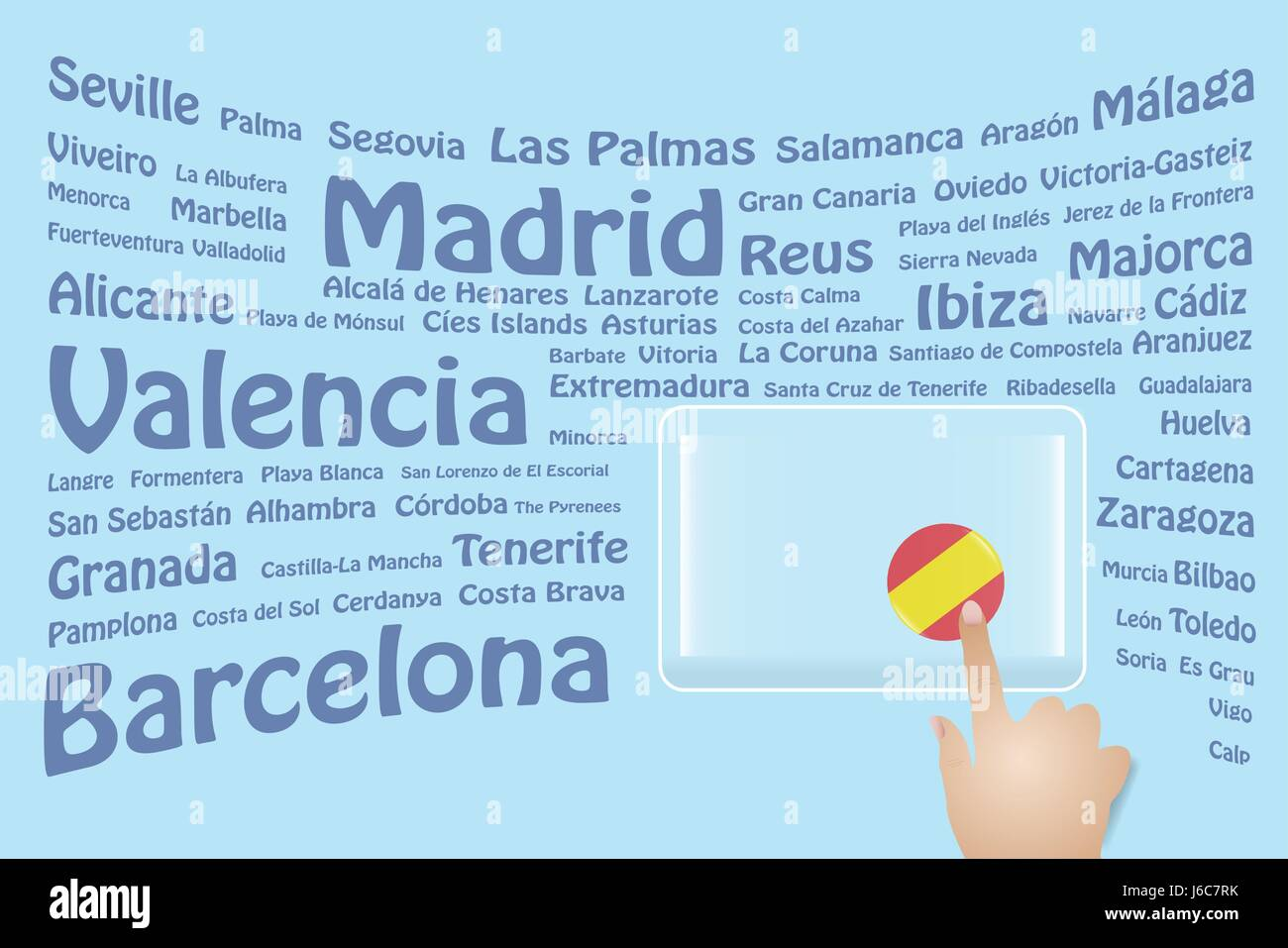 Hand is touching a round spanish flag on a transparent screen the hand is touching a round spanish flag on a transparent screen the blue bent names of the spanish sights are in the background free place for your te voltagebd Gallery