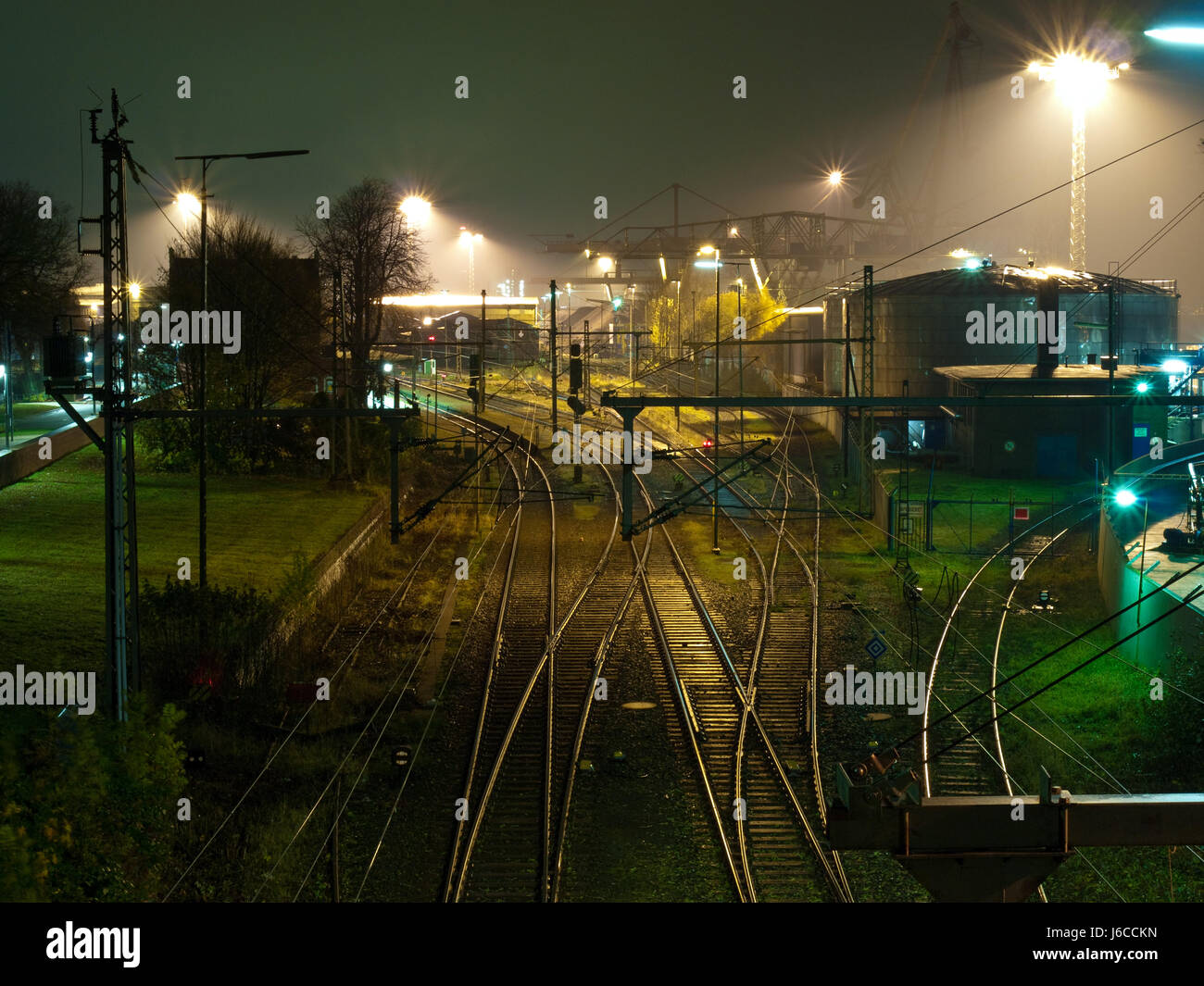 station night nighttime lights tracks yield station night nighttime lights - Stock Image : lights tracks - azcodes.com