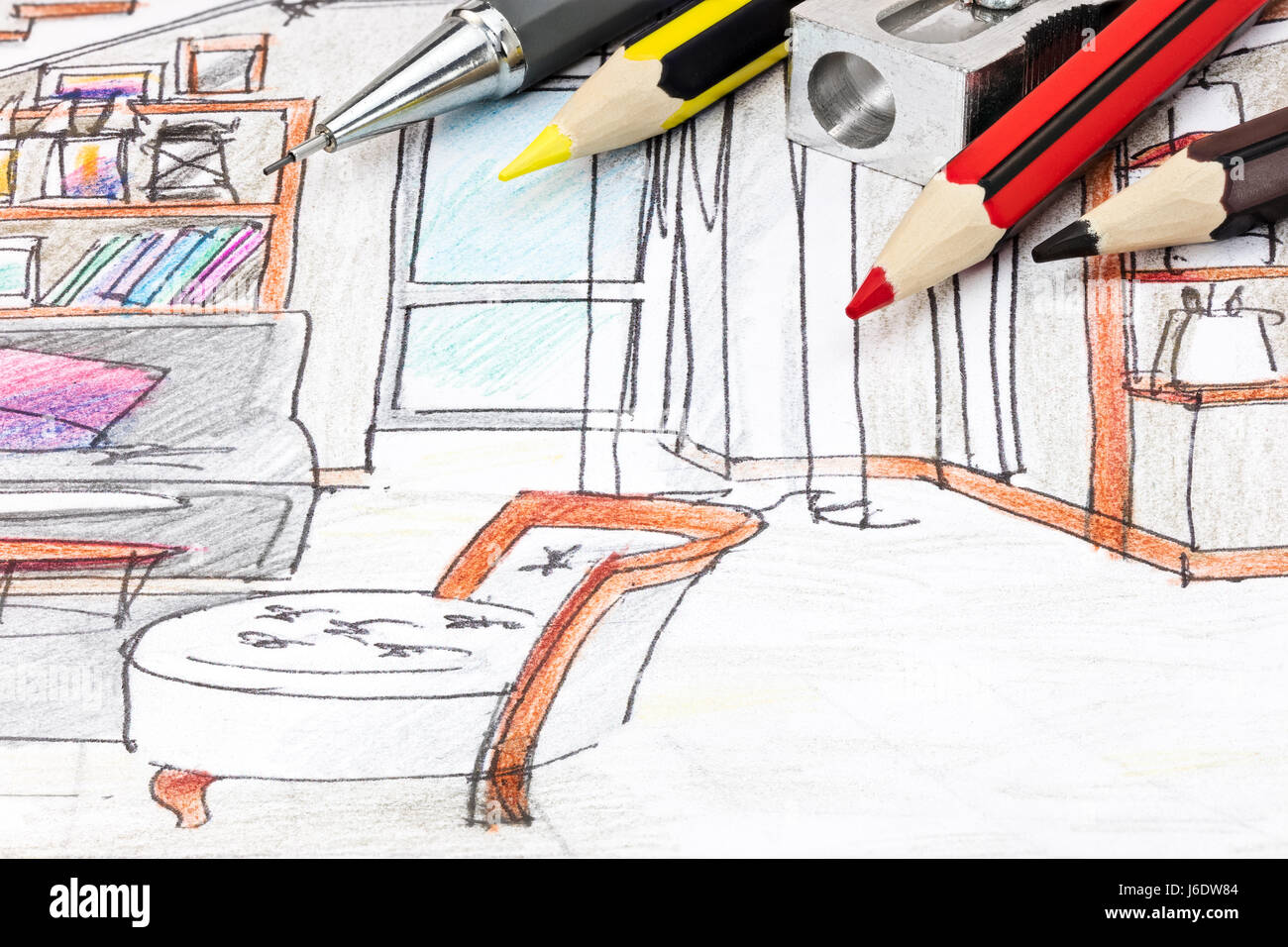 Pencils and sharpener on designers graphical sketch for furniture pencils and sharpener on designers graphical sketch for furniture blueprint closeup malvernweather Choice Image