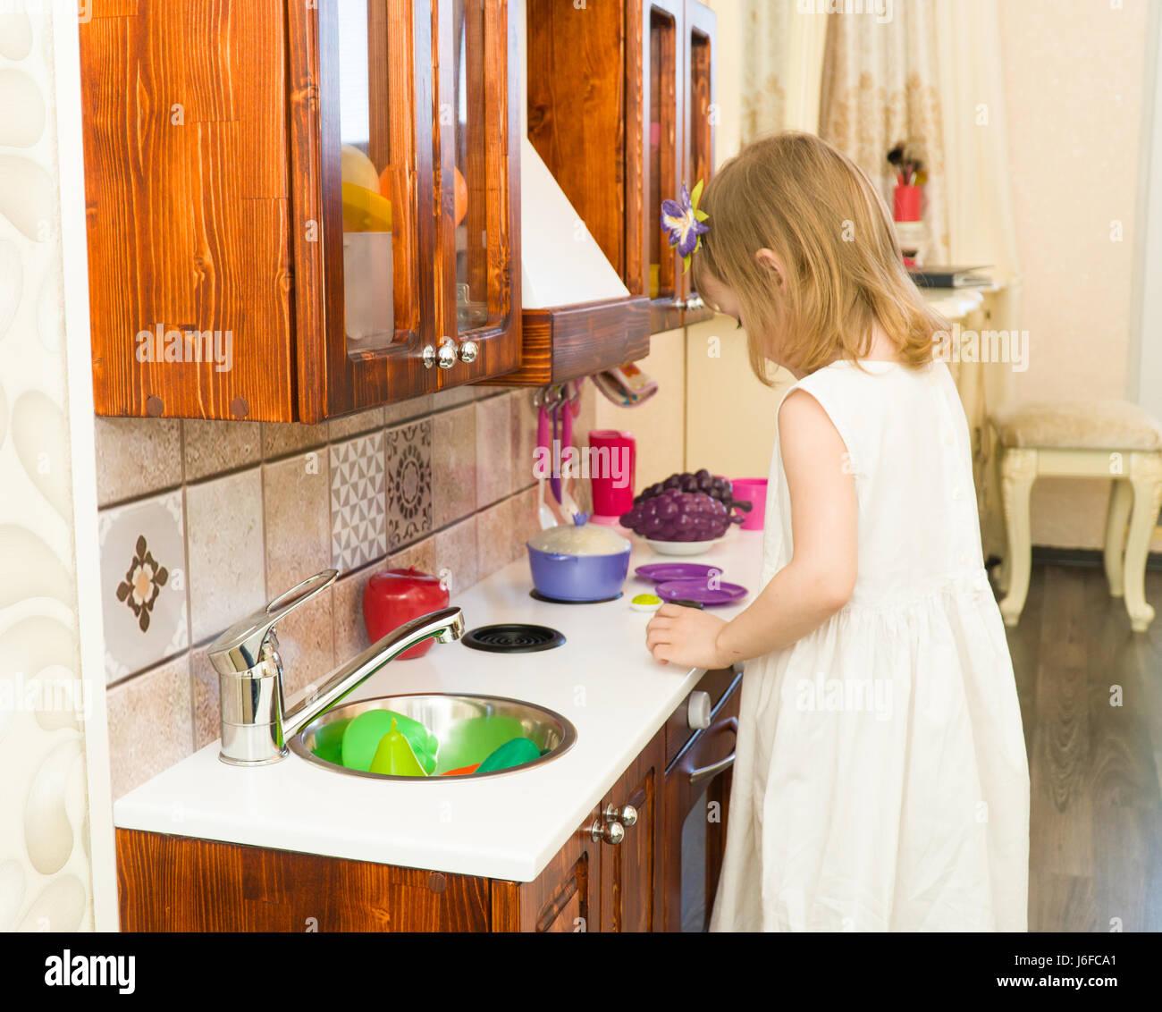 Preschool Kitchen Furniture Retro Kitchen Child Stock Photos Retro Kitchen Child Stock