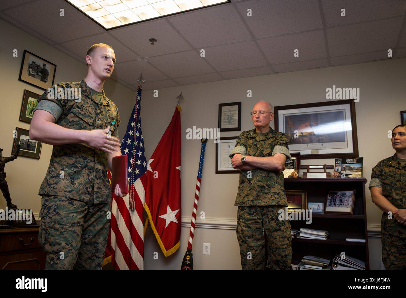 Army color casing ceremony script - U S Marine Corps Sgt Zachary Elflein Left Admin Non Commissioned Officer Director