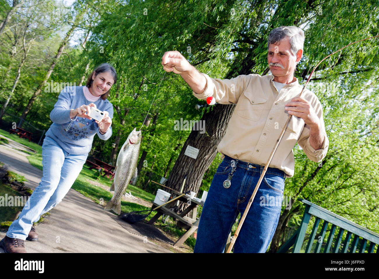Women trout fishing stock photos women trout fishing stock images alamy - Trout farming business family mountains ...