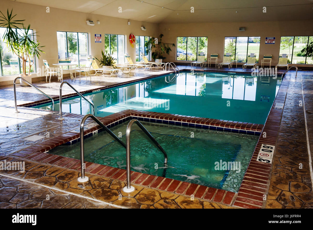 Wisconsin Kenosha Holiday Inn Express Indoor Swimming Pool Jacuzzi Stock Photo Royalty Free