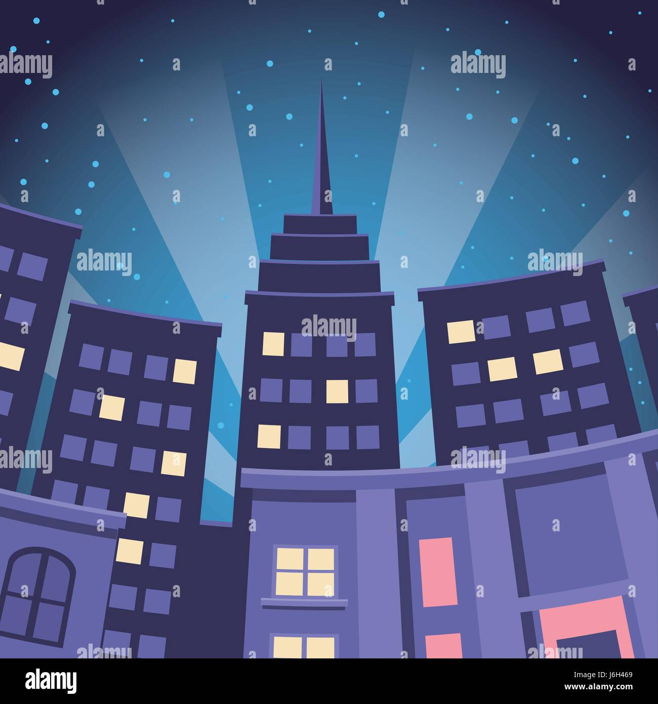 Outline athens skyline with blue buildings and copy space stock vector - Comic City Building Skyscraper Night View Stock Vector