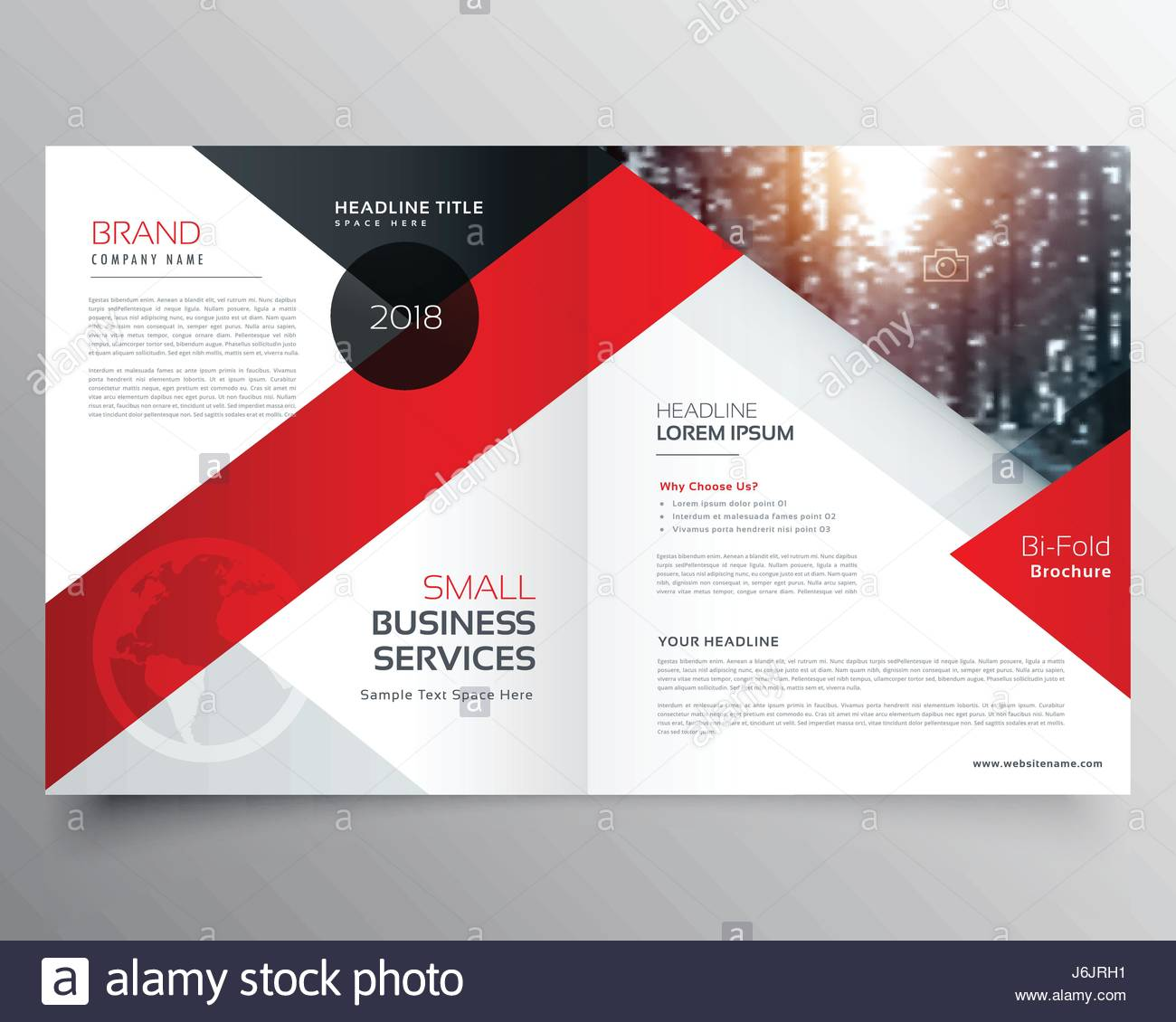 Modern Business Bifold Brochure Design Template Or Magazine Page