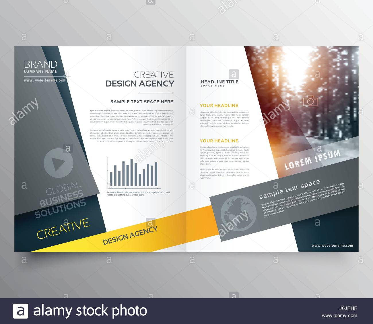 Modern Bifold Brochure Design Template Or Magazine Cover Page - Brochure design template