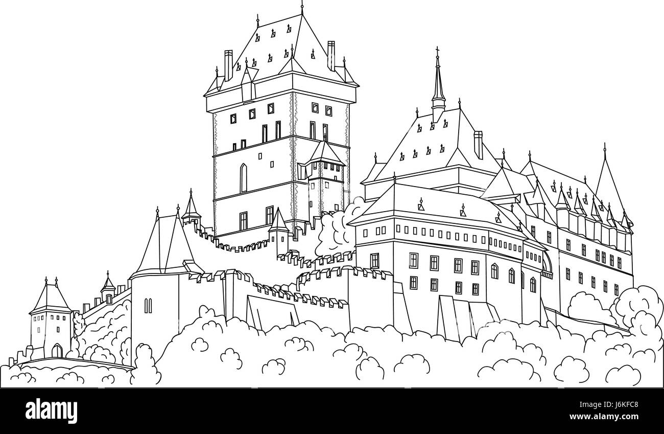 Illustration Paint Draw Cartoon Color House Building Tower Travel Historical